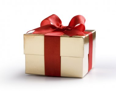 Art gold gift box with red bow gold gift box with red bow isolated on white