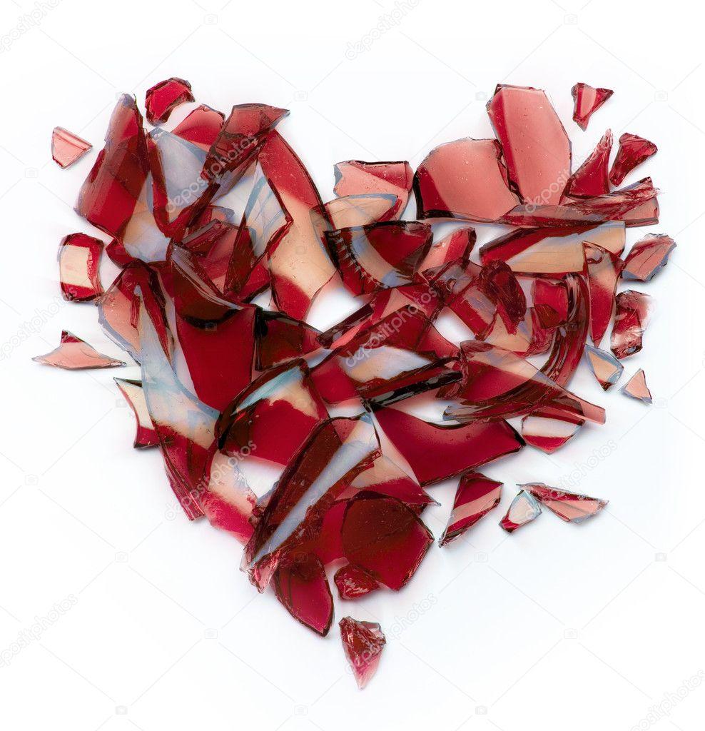 Valentines day banner broken heart on white background