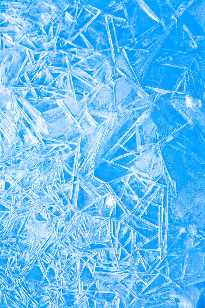 Abstract blue winter background, the frozen ice texture