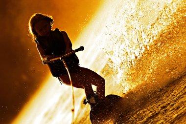 Girl Wakeboarding Silhouette