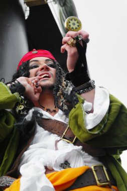 Portrait of the actor in the guise of Jack Sparrow on a sailing ship
