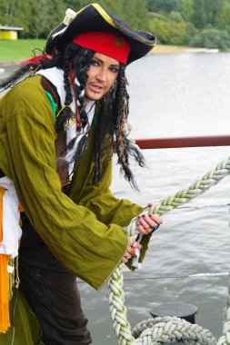 Actor Jack Sparrow in the form of a rope on a sailing ship, the Castor-1