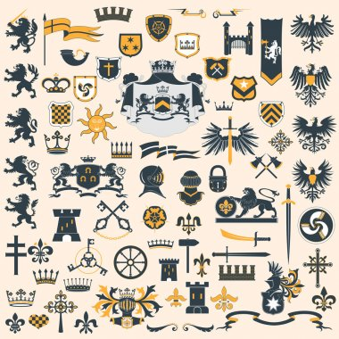 Heraldic Design Elements set