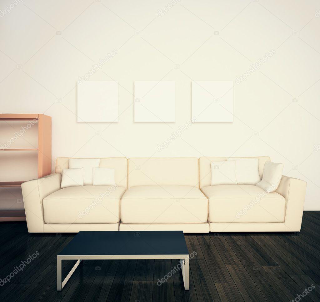 moderne zeitgenössische komfortablen Innenraum — Stockfoto ...