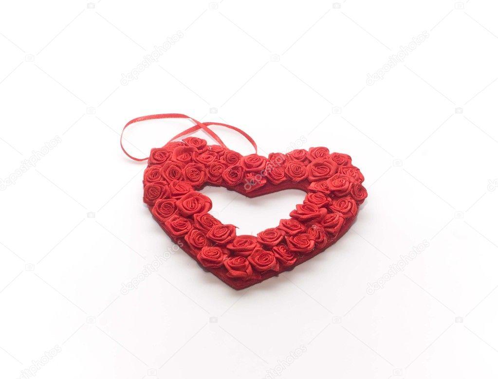 ein rotes Herz aus vielen kleinen Rosen — Stockfoto © soljuska13 ...