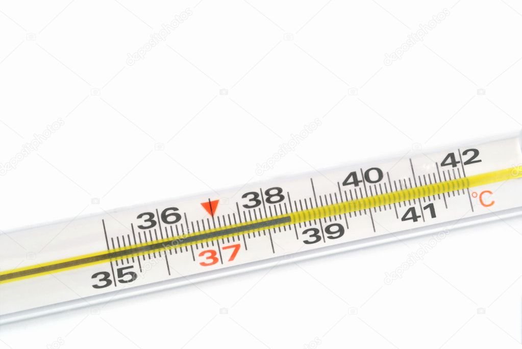 The clinical thermometer scale indicates high temperature
