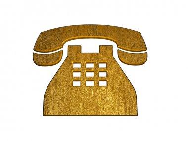 3D Golden Telephone Sign