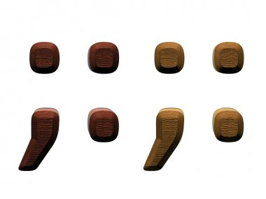 3d wooden semicolon, period, comma Computer generated 3D photo rendering.