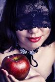 Fényképek szexi nő arca closeup, fekete csipke maszk