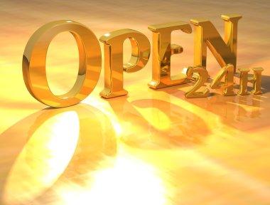 3D Open 24h Gold text