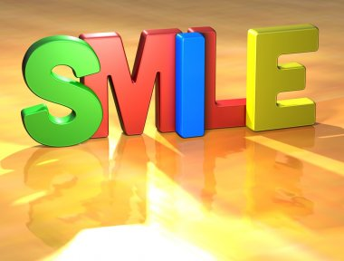 Word Smile on yellow background