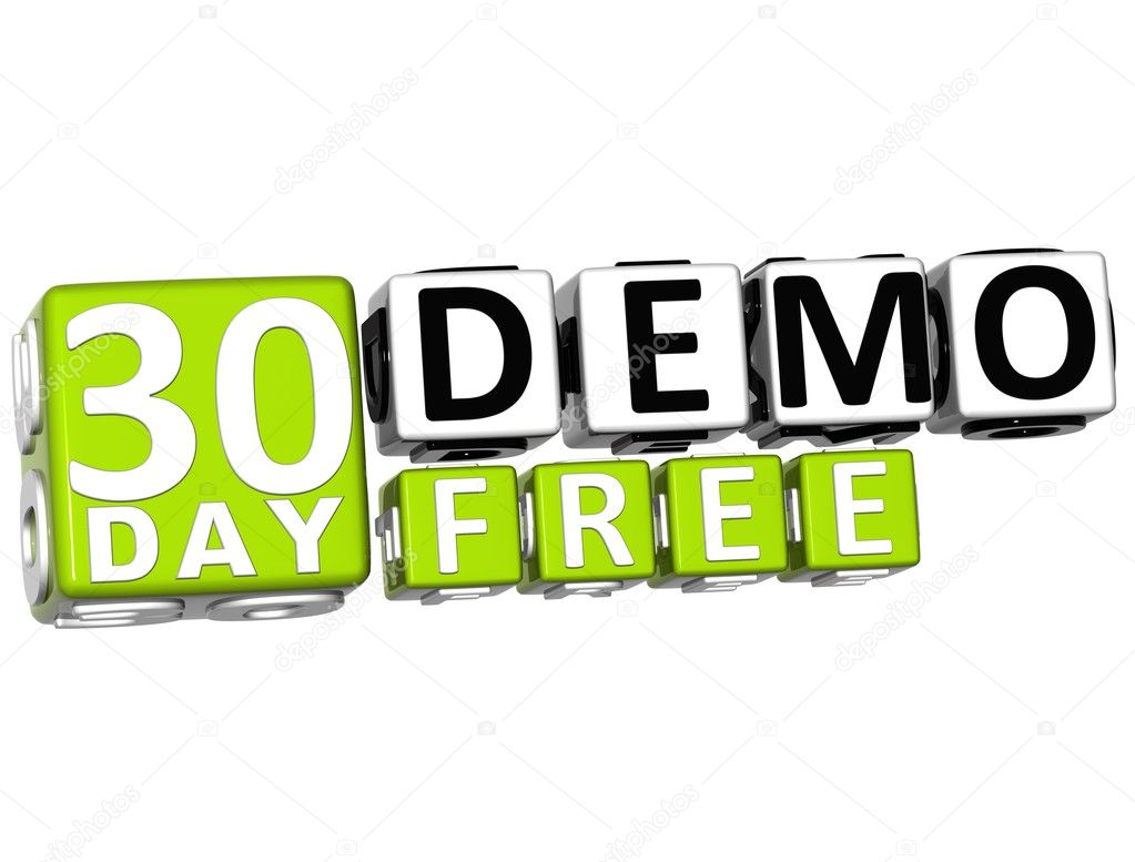 3D Get 30 Day Demo Free Block Letters — Stock Photo