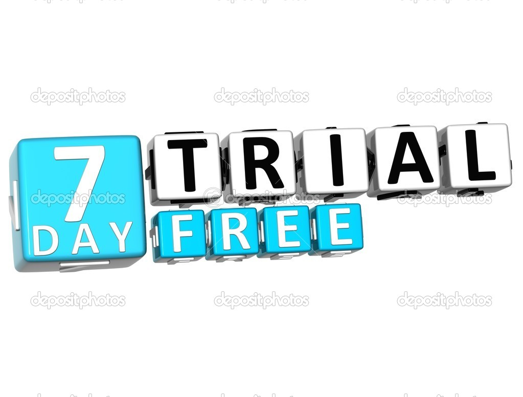 3D Get 7 Day Trail Free Block Letters — Stock Photo