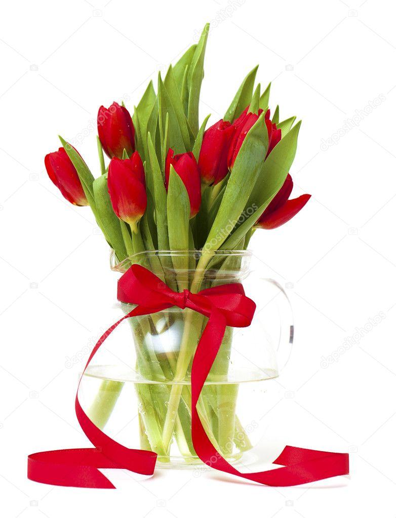 Rote Tulpen In Einer Vase Mit Roter Schleife Stockfoto Dianazh