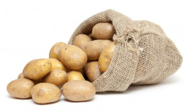 Potatoes in a burlap bag