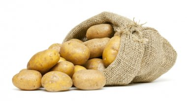Potatoes in burlap bag