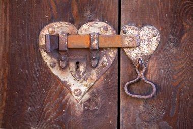 Heart shaped door lock stock vector