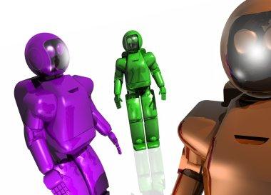 Three futuristic robots