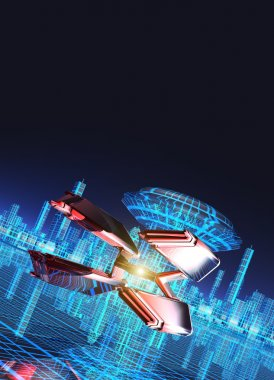 Spaceship flying over a futuristic city