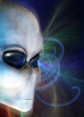 An Alien grey face close up