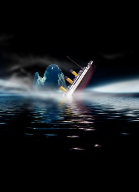 Titanic ship sinking at night with low fog and iceberg in water.