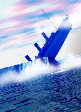 Titanic ship sinking behind large iceberg in deep water.