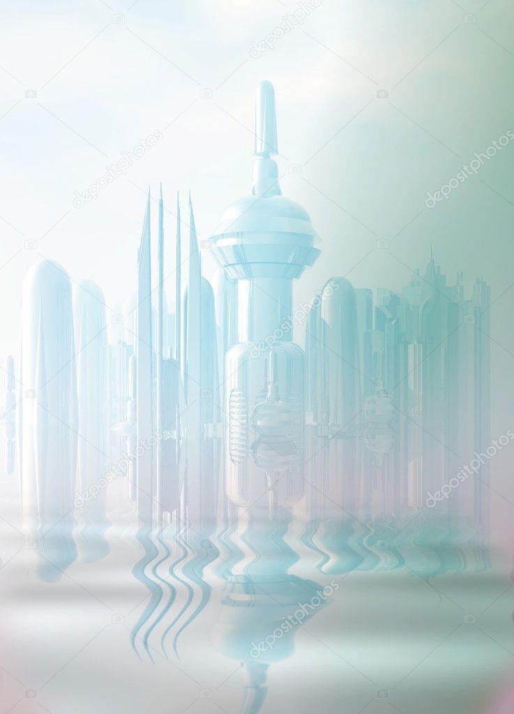 A futuristic city in the mist.