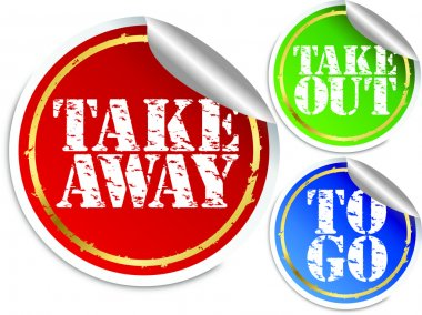 Take away, take out and to go stickers, vector illustration