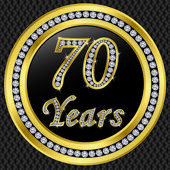 70 Jahre Jubiläum, Happy Birthday goldene Ikone mit Diamanten, Vektor illu