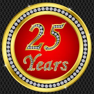 25 years anniversary, happy birthday golden icon with diamonds, vector illu