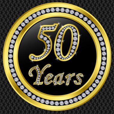 50 years anniversary, happy birthday golden icon with diamonds, vector illu