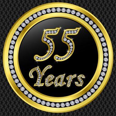 55 years anniversary, happy birthday golden icon with diamonds, vector illu