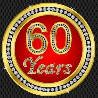 60 years anniversary, happy birthday golden icon with diamonds, vector illu