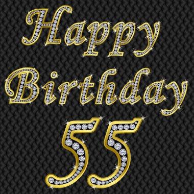 Happy 55 birthday, golden with diamonds, vector illustration