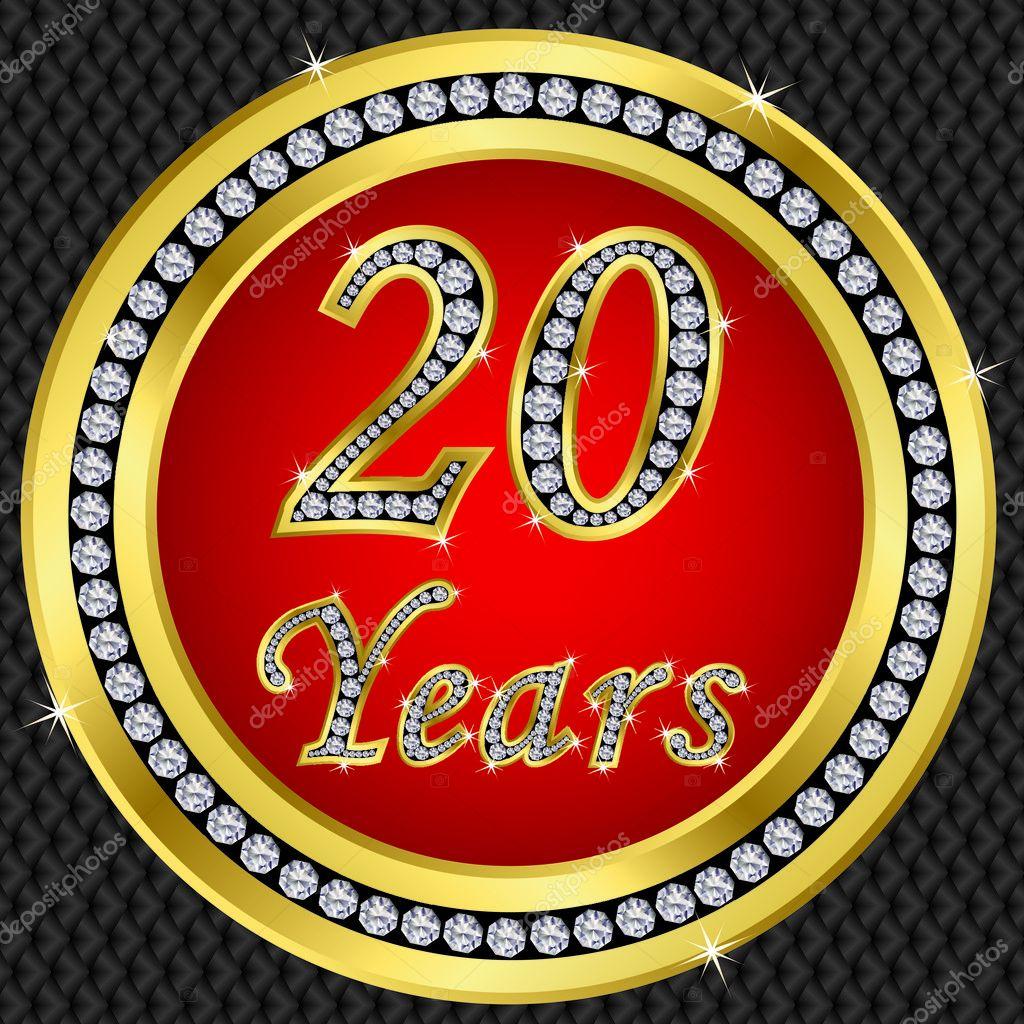 20 Jaar Verjaardag Gelukkige Verjaardag Gouden Pictogram Met