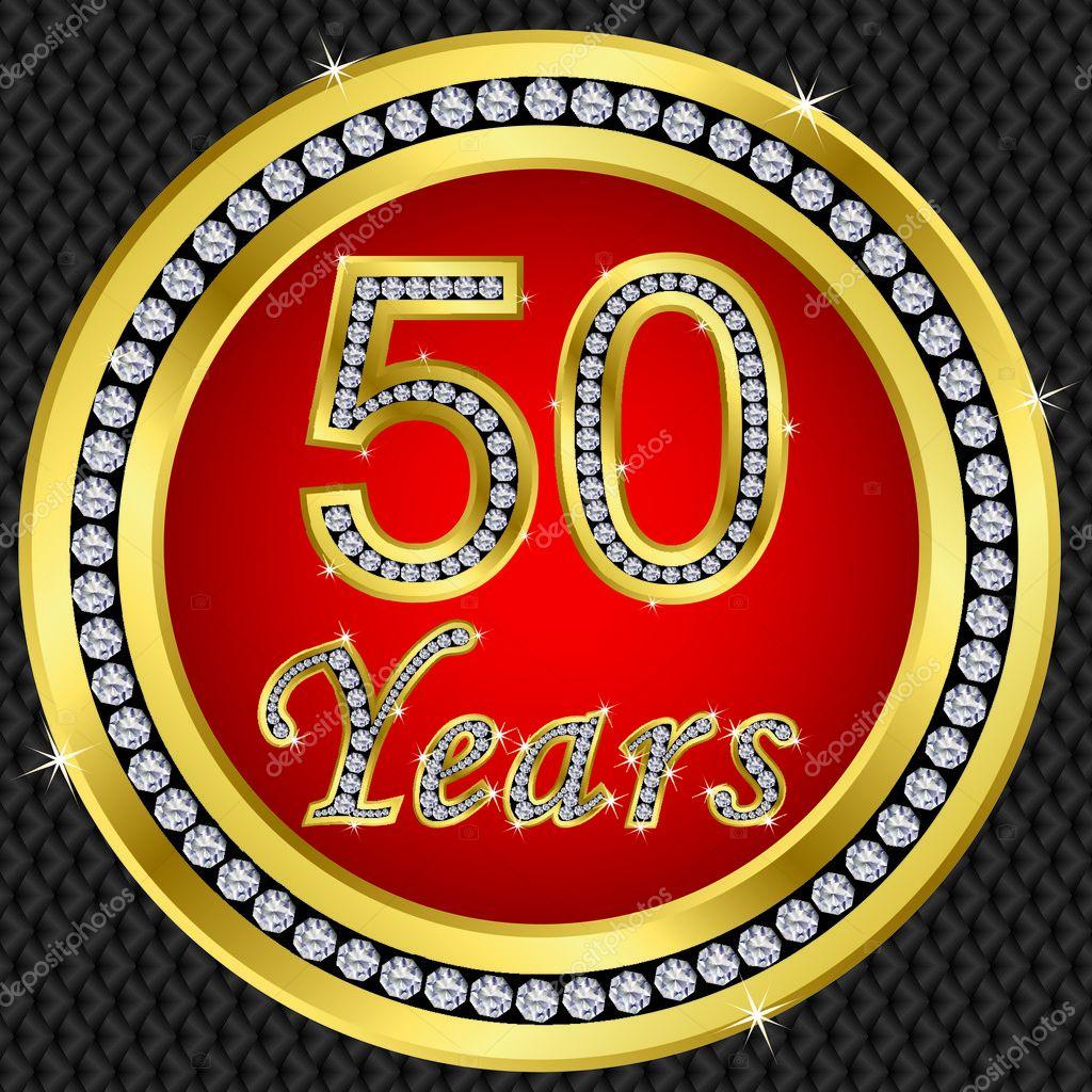 Anniversario Di 50 Anni Icona Di Buon Compleanno Doro Con Diamanti