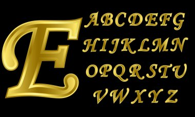 Golden alphabet, letters from A to Z, vector illustration