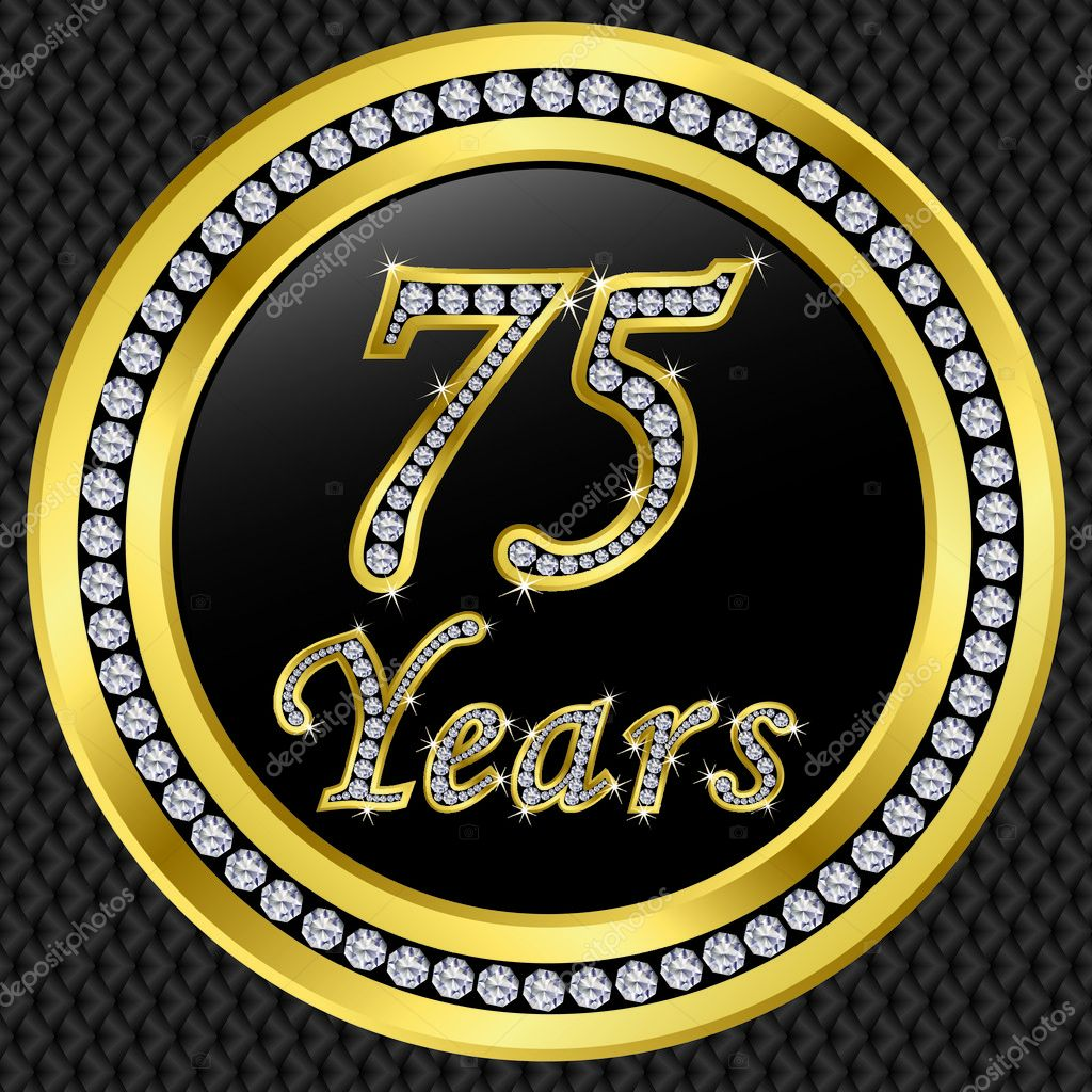 75 jahre jubil um geburtstag golden icon mit diamanten. Black Bedroom Furniture Sets. Home Design Ideas