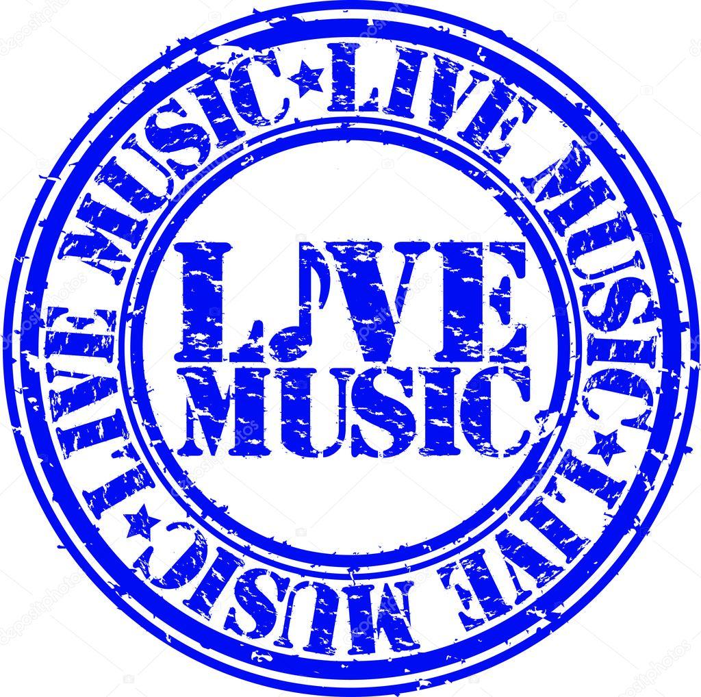 Grunge live music rubber stamp, vector illustration