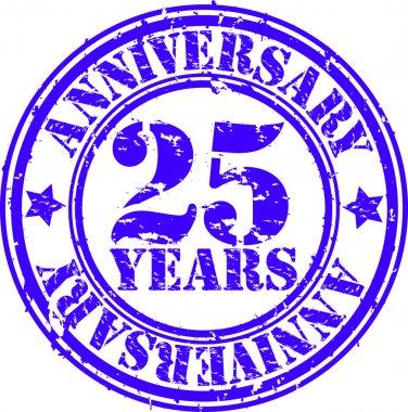 Grunge 25 years anniversary rubber stamp, vector illustration