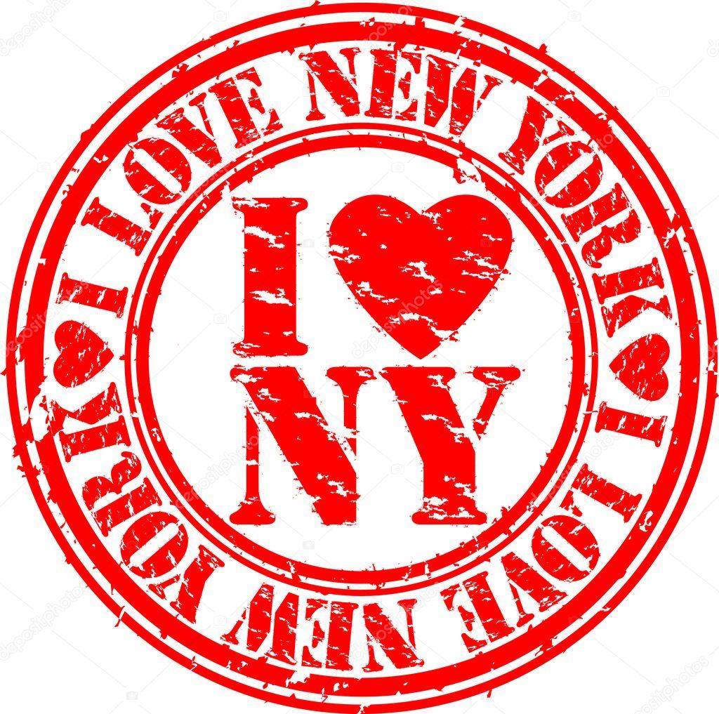 grunge i love new york rubber stamp, vector — stock vector © dinozzz
