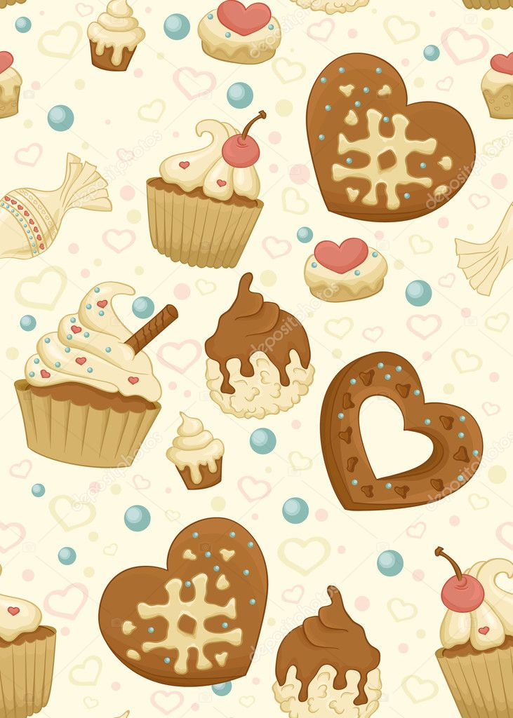 Repeating wallpaper with cakes