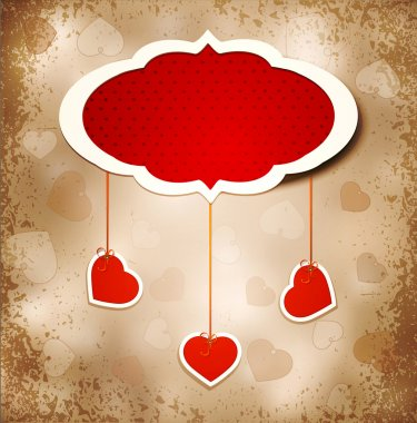 Vintage grunge background to a festive Valentine's Day with three dangling hearts clip art vector