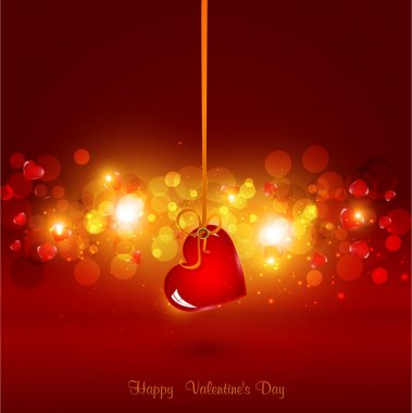 Festive background for Valentine's Day with heart hanging on ribbon clip art vector