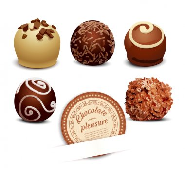 Set of chocolate on a white background
