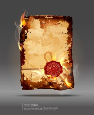 Burning parchment with wax seal