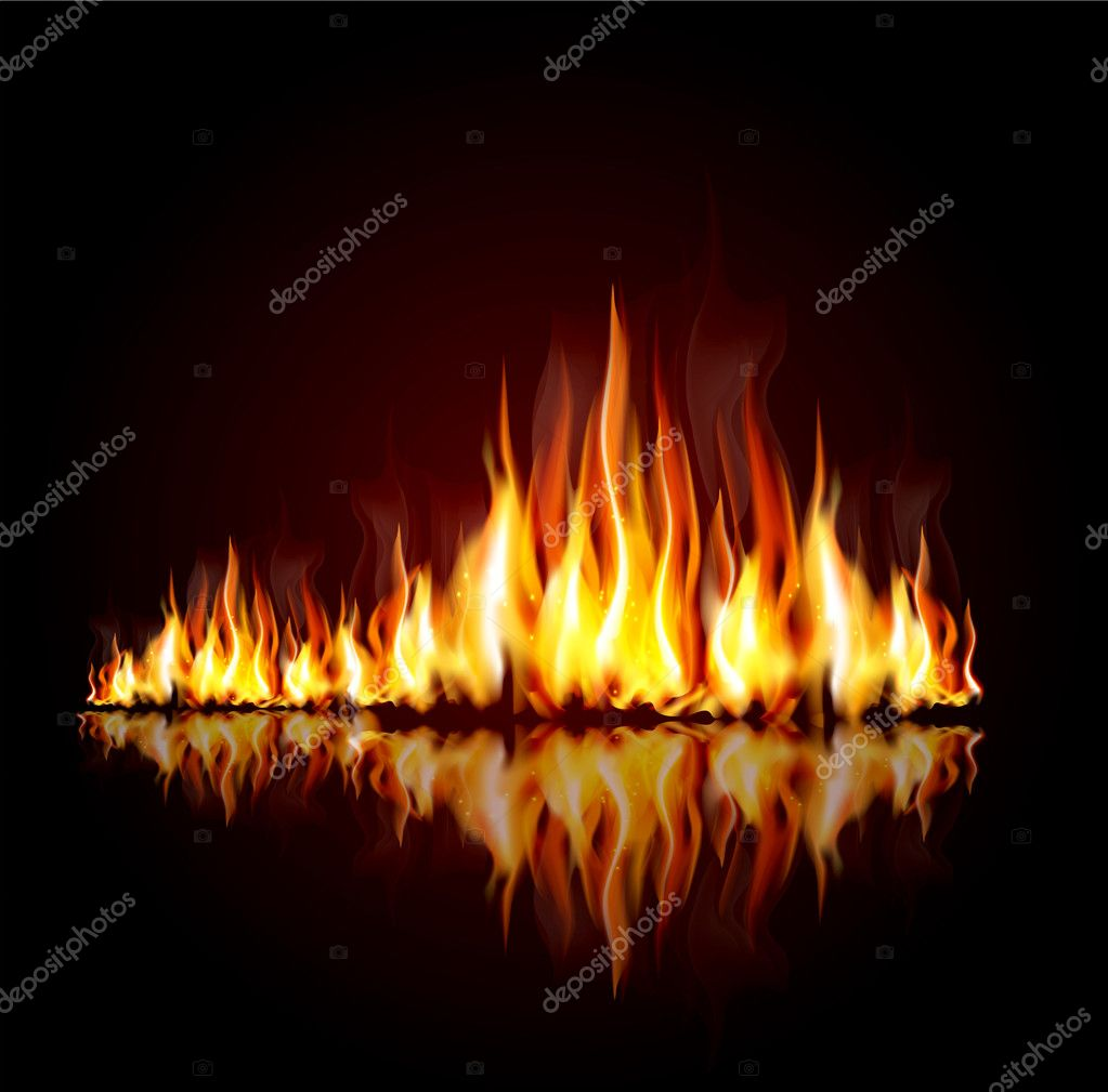Background with a burning flame