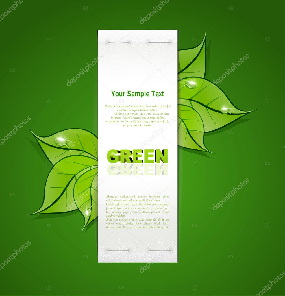 Vertical paper strip with green leaves and drops of dew on a gre