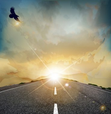 Vector landscape with rising sun, soaring eagle, and the road
