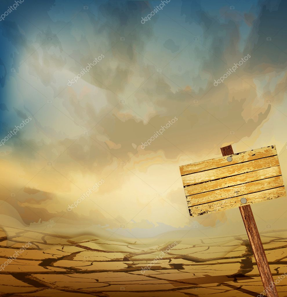 Vector desert landscape with a wooden plaque